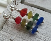 Stacked Sea Glass Sterling Silver Earrings