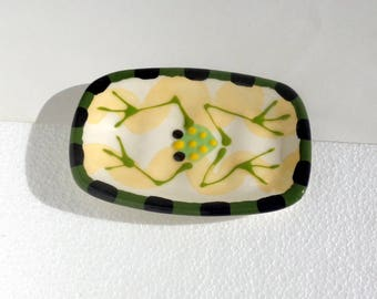 Green Frog Hand Made pottery Ceramic Soap Dish Made to Order