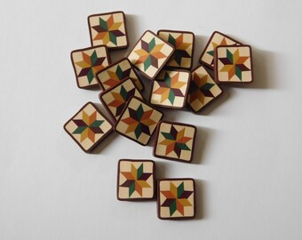 Quilt Block Buttons, polymer clay jewelry charms, mosaic tiles