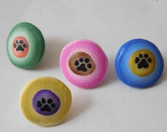 Paw Print Push Pins, polymer clay thumb tacks