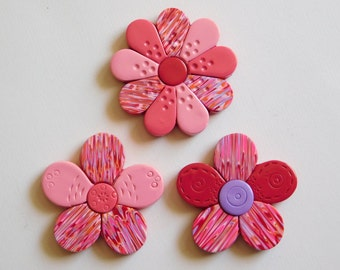 Fridge Magnets, pink and red polymer clay refrigerator flower magnets, set of 3