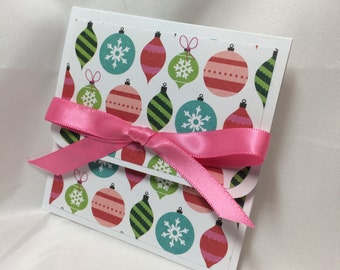 Christmas Ornaments in a Row Gift Card Holder