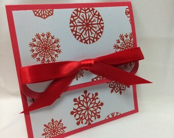 Red On White Snow Flurries Christmas Card Holder
