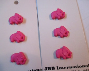 Vintage pink elephant buttons from JHB new unused original packaging 6 buttons