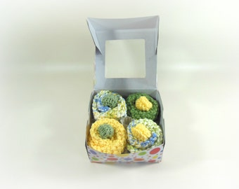 Baby Cupcakes, Washcloth Cupcakes, Four Double Knit Washcloths & Two Sets of Baby Booties in Yellow, Green, White,  Blue