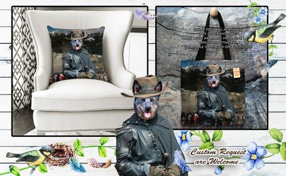 Australian Cattle Dog Pillow or Tote Bag/Heeler Art/Heeler Bag/Heeler Pillow/Dog Tote Bag/Dog Pillow/Dog Art/Custom Dog Portrait