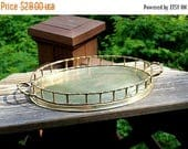 """ON SALE Brass Vanity Tray Polished Gold Vintage Tray with """"Bamboo"""" Sides , Oval Brass Tray with Handles Made in India , Brass Serving Tray"""