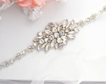 SALE Wedding Belt, Bridal Belt, Sash Belt, Crystal Rhinestones sash belt,vintage sash belt