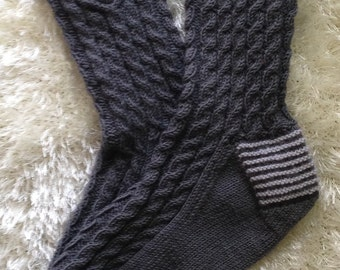 Hand knit grey cable wool socks Men socks Gift for him Casual knit leg warmers