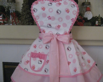 Hello Kitty Inspired Butterflies Hearts and Dots Womens Retro Apron