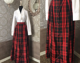 Vintage 1980's Red and Black Plaid Maxi Skirt XS