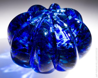 Small Hand Blown Glass Paperweight - Silver Blue with Ribs