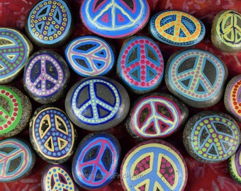 5 Painted Peace Rocks- Listing for FIVE Rocks-  5 Painted Stones