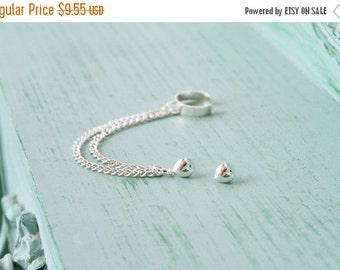 SALE Silver Heart Double Chain Ear Cuff (Pair)