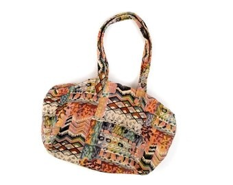 Vintage 1980's Funky Abstract Southwest Cotton Tapestry Slouchy Shoulder Bag Handbag Purse