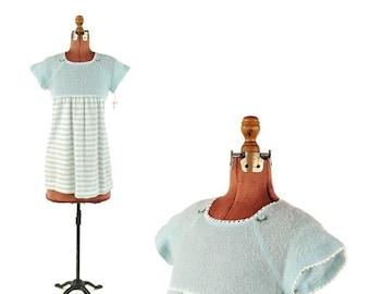 SALE Vintage 1970's Sheer Blue Pink Knit Baby Doll Mini Stripe Dolly Shift Dress S NOS