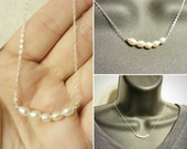 Pearl Bar Necklace - Dainty Layering Pearl Necklace - 5 Fresh Water Pearls on Sterling Silver Necklace - Genuine Natural Pearls