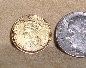 Vintage Real US Coronet 1862 22kt Gold Dollar Charm Or Pendant Jewelry a6