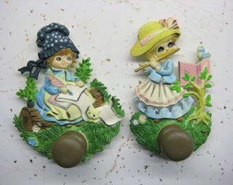 2 Vintage Kitchen Refrigerator Magnets With Hooks Whimsical Girls