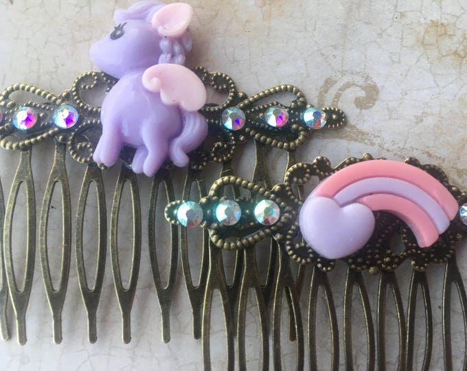 Hair Accessories, Decorative Combs, My Little Pony Hair Combs, Rainbow Hair Combs, Cabochon Combs, Swarovski Crystal
