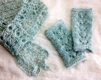 ROBIN'S EGG Blue Keyhole Lace Scarf & Fingerless Glove  SET  / Hand Dyed Silk and Kid Mohair with Silver Glass Beads