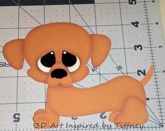 A021 3D Handmade Hand Cut Paper Piecing Dog Doxie Weenie Dachshund Scrapbooking Cardmaking Embellishment Die Cut