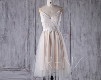 Off White Lace Tulle Bridesmaid Dress, V Neck Wedding Dress, A Line Party Dress, Cute Short Cocktail Dress Knee Length (LS262)