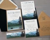 Lake Wilderness Wedding Invitation Sample | Flat or Pocket Fold Style | Rustic Mountains and Trees | Pocket Invitation