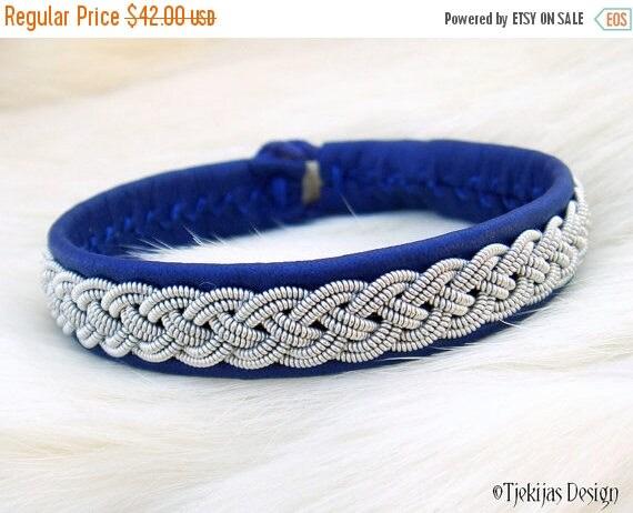"Sami Viking Bracelet ASGARD size 15,5 cm / 6.1"" - 20% off OUTLET ready to ship - Blue Reindeer Leather Bracelet with Pewter Braid"