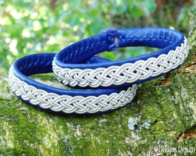 Custom Handmade Sami Viking Bracelet in Blue Reindeer Leather ASGARD Norse Leather Bangle with Pewter Braid and Antler Button