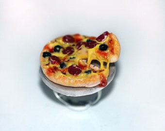 Pizza Ring -  Kawaii Ring - Food Jewelry - Pizza Jewelry - Italian Food Jewelry - Miniature Food Ring
