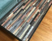 """30""""x16.5""""x16""""high mosaic coffee table made of reclaimed barnwood and featuring hairpin legs"""