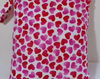 """Large wet bag. 13"""" X 16"""". Pink and Red Heart print fabric.Heat sealed seams. Ready to Ship"""
