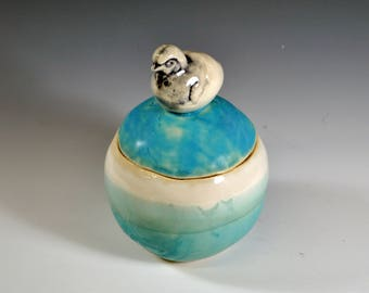 Handmade Ceramic Sugar Bowl, Spice Container, Salt Pig