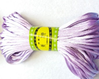 20M, 2mm Lavender, Light purple, medium violet satin rattail cord trim string