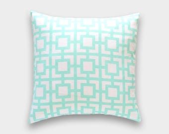 Mint Green Keyhole. Throw Pillow Covers. 16x16, 18x18, 20x20 Keyhole Cushion Covers.
