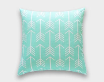 Mint Green Arrow. Throw Pillow Covers. 16x16, 18x18, 20x20 Arrow Cushion Covers. Arrows. Mint Pillow Cover.