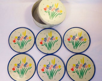 SPRING FLOWER COASTERS 6 with Tin - by The Tin Box Company - Vintage Hong Kong - Tulips, Daffodils, Hyacinths