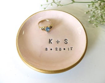 Wedding ring dish,  Ring holder, Engagement gift, You and Me, Soft Pink and Gold, Wedding Gift, Gift for Couple, Handmade Pottery