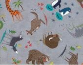 Gray Children's Animal Fabric - Hello World by Abi Hall from Moda - 1/2 Yard