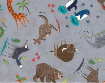 Gray Children's Animal Fabric - Hello World by Abi Hall from Moda - 1 Yard