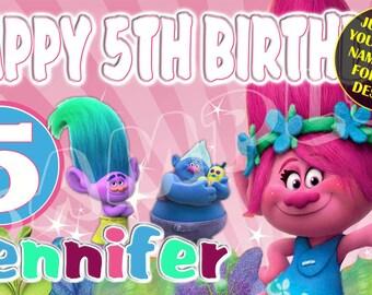 Trolls, Trolls Birthday Banner, Trolls Party Banner, Princess Poppy Banner, Personalized Custom Birthday Banner Party Decoration