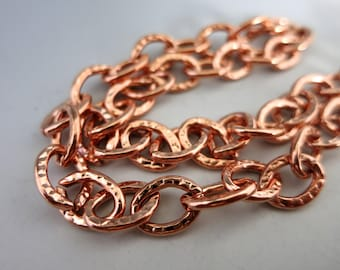 Large Link Copper Chain, Hammered Copper Chain, Unsoldered Links, Bulk Chain 4 Feet to 15 Feet