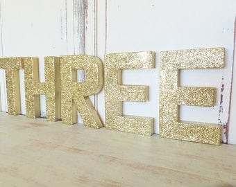 """THREE Free Standing Gold Glitter Letters ~ Photo Prop ~Birthday Decor ~ 8"""" Set of 5 ~ Table Decor"""
