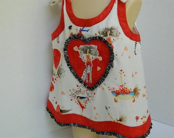Girls' Spring Top - Sleeveless Summer Shirt - Girls' Size 6 Clothing - OOAK Top - Handmade Childrens' Clothing - Red Hearts Print Top