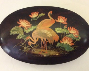 Antique 1930's Original Sharp's Toffee Oval Candy Tin Box. Pink Flamingos and Water Lilies!  Deco / Nouveau Graphics.