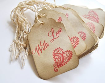 35 with love coffee stained tags. baby shower hangtags. distressed shabby chic . primitive. wedding. gift embellishment . eco friendly