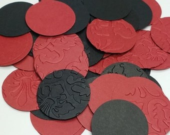 Black and Red Damask Embossed Circle Table Scatter/Confetti, Paper Party Decor- 250 pc