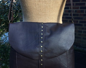 Recycled leather bag- Satchel-Messenger-Soft Dark Brown leather- Crossbody- Key ring closure. Great everyday bag.