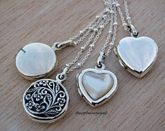 Sterling Silver 925 Heart Locket, Round Locket, Mens Locket, Lovers Locket, Silver Round Locket, Custom made gift under 30, Mothers necklace